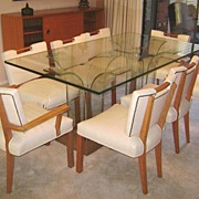 SALE Paul Laszlo Mid Century Dining Set Table 8 Chairs Buffet & Console