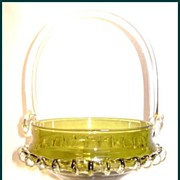 Vintage Empoli Glass Basket Olive with Handle