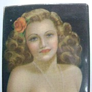 Billy DeVorss Celluloid Pocket Mirror Strawberry Blond Pinup