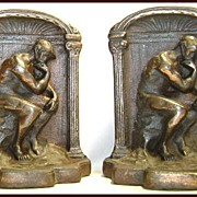 Vintage Cast Iron Bookends Rodin's The Thinker