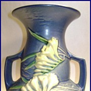 "Roseville 8"" Blue Freesia Vase"