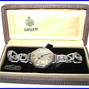 1920's Art Deco Gruen Wrist Watch 15 jewel in Box