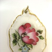 Lovely Vintage Rosenthal Porcelain Poppy Pendant & Sterling Chain
