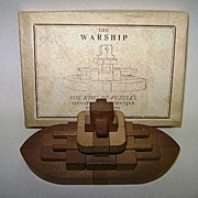 Pre War Japanese Wooden Puzzle The Warship w/Original Box