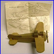 Pre War Japanese Wooden Puzzle Airplane with Instructions