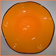 Mid Century Venetian Art Glass Center Bowl Halloween Colors