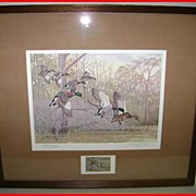 1981 Arkansas Migratory Waterfowl Stamp Print Art  Bayou Meto LeBlanc