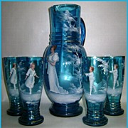 Antique Blown Glass 5 pc Water Set Mary Gregory Style