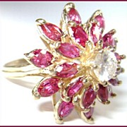 Mid Century 14K Diamond & Ruby Cocktail Ring 3.6 carat - GIA Certified
