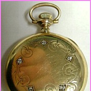 Ladies 14k Gold & Diamond Antique Pocket / Pendant Watch Hunter Case