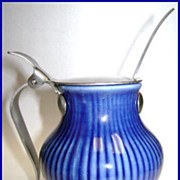 Mid Century Rorstrand Cobalt Condiment Jar