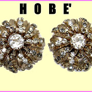 Gorgeous Hobe Rhinestone Classic Domed Earrings - Clips