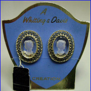 Vintage Whiting Davis Cameo Intaglio Earrings NOS Mint On Card