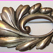 Stunning Viking Craft Heavy Sterling Silver Floral Brooch