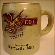 Early F.O.E. Marquette Michigan Stoneware Souvenir Mug Cup