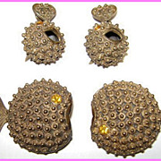 Vintage Gall Novelty Puffy Fish Rhinestone Broochs & Earrings Set