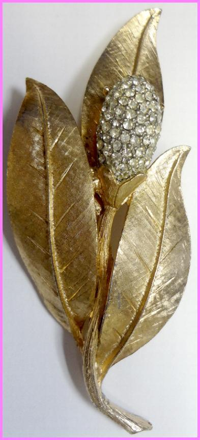 Fabulous Pave Rhinestone Gold Wash Tulip Brooch from B.S.K.
