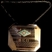 Vintage Octagonal Art Deco Guilloche Compact Phi Epsilon Pi
