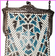 Exquisite Mandalian Art Deco Enameled Mesh Bag