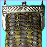1920's Whiting Davis Art Deco Armor Metal Mesh Enameled Purse