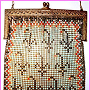 Stunning Whiting-Davis 1920's Art Deco Enameled Mesh Purse