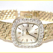 Fine 14K Ladies Diamond Bezel Rolex Gold Mesh Bracelet