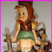 Hummel Lamp Just Resting 225/I Little Girl in Tree Swing
