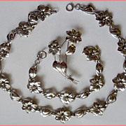 Harry S. Bick & Sons Sterling Silver Demi Parure Necklace, Bracelet & Brooch