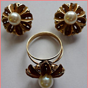 Exquisite Vintage 19K Gold & Pearl Ring & Earrings