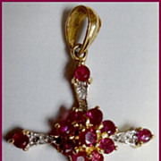 Vintage 10K Gold Diamond and Ruby Crucifix Cross