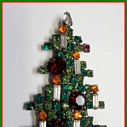 1960's Weiss 6 Candle Christmas Tree Brooch Large Size Book Piece