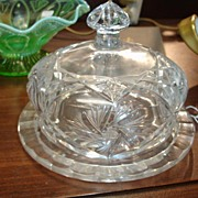 Heavy Cut Crystal Covered Butter Dish