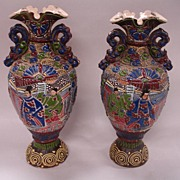 Antique Satsuma Mantle Vases - pair