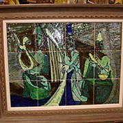 Harris G. Strong Large Framed Tile Mural dated 1958 Jazz Musicians