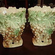 Vintage MCCOY Vases (pair) Grapes