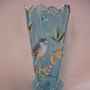 Victorian Art Glass Vase - Coralene Blue Bird