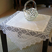English Damask and Hand Crocheted Tea Cloth