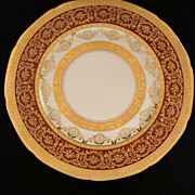 Set of Six 24K Gold Rimmed Czechoslovakian TK Thun Charger Plates