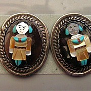 REDUCED Native American Crafted Gemstone Kachina Earrings, Sterling