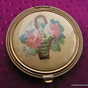 REDUCED Gorgeous Old Brass Compact, Elegant Needlework,