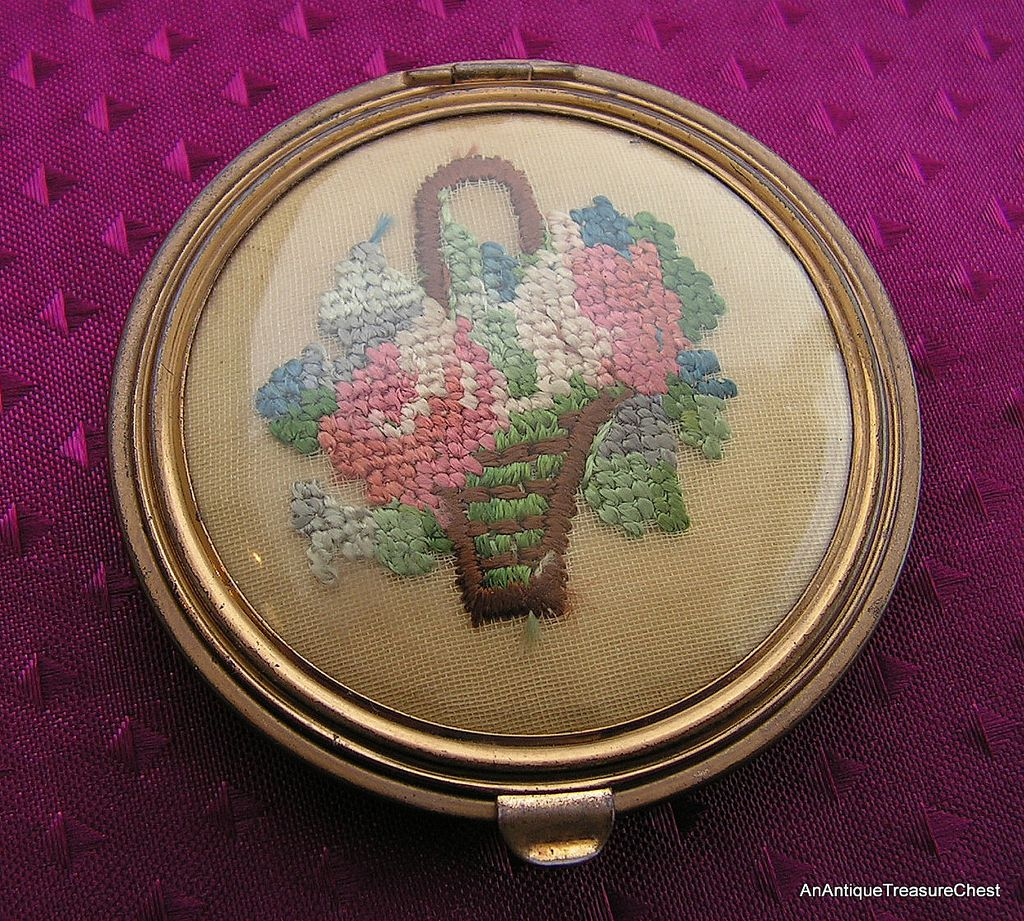 Gorgeous Old Brass Compact, Elegant Needlework,