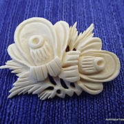 REDUCED Wonderfully Carved Floral Motif Brooch, Excellent!