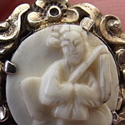 REDUCED Elegant Handcarved Antique Cameo, High Relief, Oriental Design