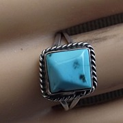 REDUCED Beautiful Sterling Mounted Turquoise Ring, Size 6.5