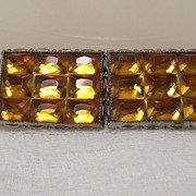 REDUCED Art Deco Buckle With Faceted Citrine Glass, Made In Czechoslovakia!