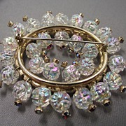 REDUCED Very Rare 50s Blown Glass Ball Beaded Brooch, Awesome!