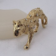 REDUCED Classic Rhinestone Leopard Pin, Elegant Golden Finish!