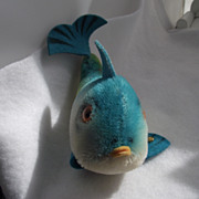 REDUCED Delightful Mid Century STEIFF Flossy Fish Stuffed Toy, Great Colors!
