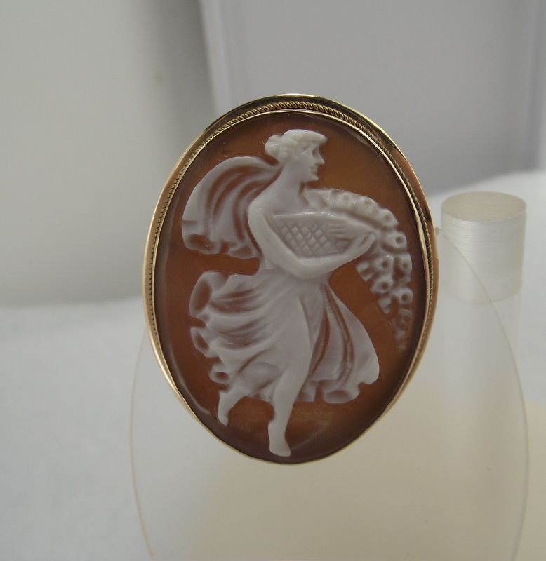 Wonderful 14k Gold Framed Real Carved Cameo Brooch - Pendant!
