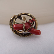 REDUCED Gorgeous Antique Victorian Love Knot Brooch With Oxblood Coral